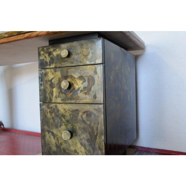 Timeless Mid Century Modern Studio Brass Desk For Sale - Image 6 of 13