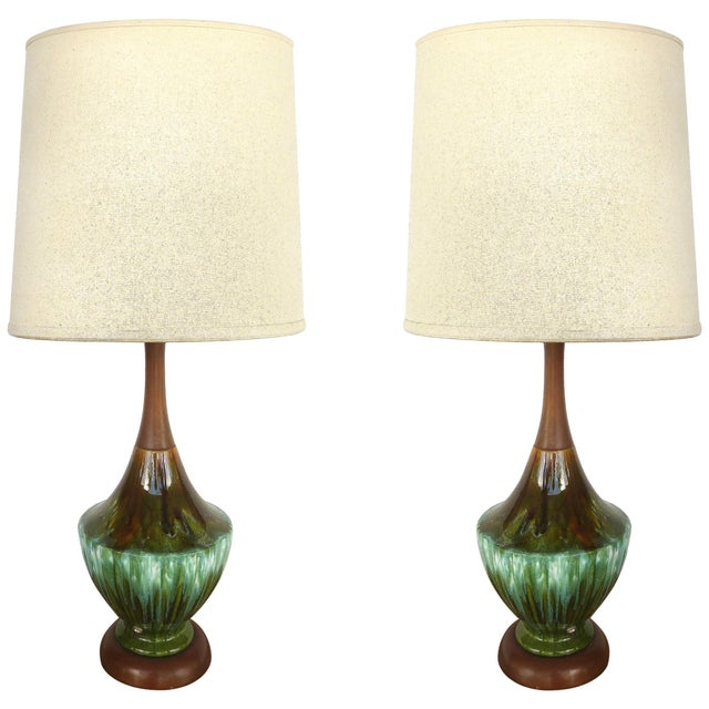 Phil-Mar Mid-Century Teak and Ceramic Table Lamps With Drip Glaze For Sale - Image 10 of 10