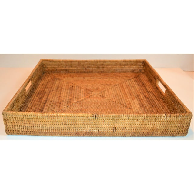 2010s Square Wicker Woven Honey Colored Tray For Sale - Image 5 of 7