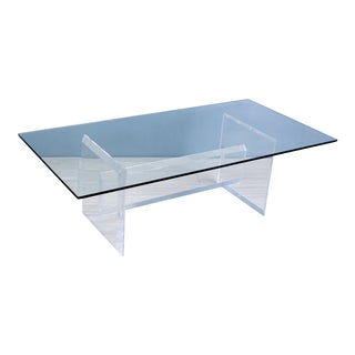 Rectangular Sculptural Lucite Coffee Table