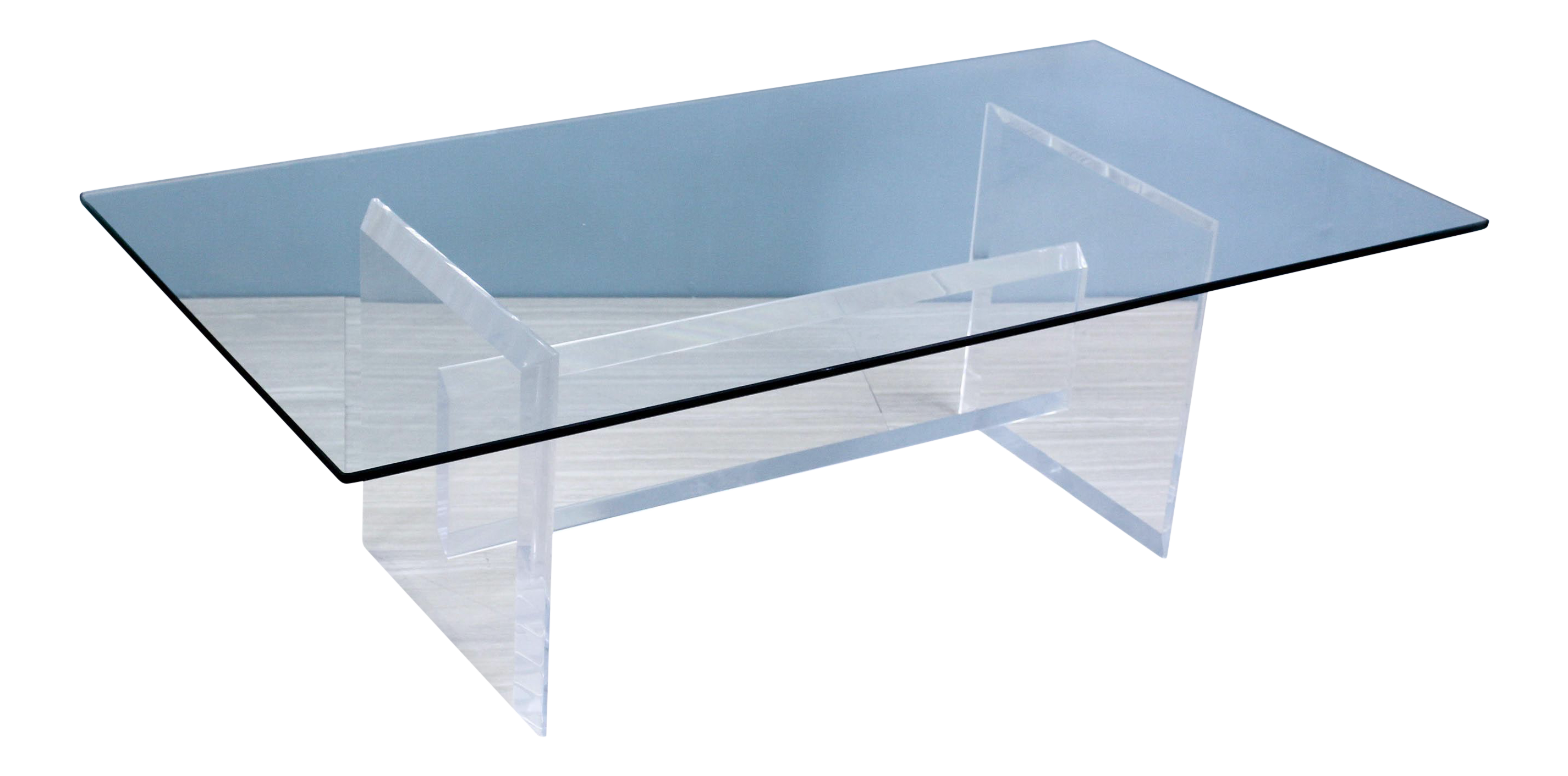 Rectangular Sculptural Lucite Coffee Table For Sale
