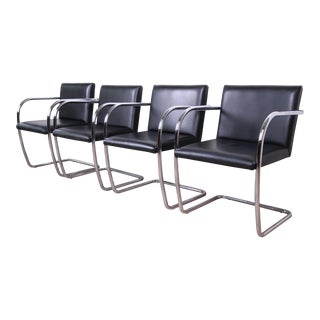 Mies Van Der Rohe Black Leather and Chrome Brno Chairs, Made in Italy For Sale