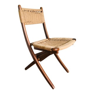 1960s Vintage Hans Wegner Style Danish Modern Folding Rope Chair For Sale