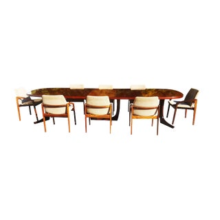 Monumental Rosewood Danish Modern Kai Kristiansen Conference Table / Dining Set For Sale