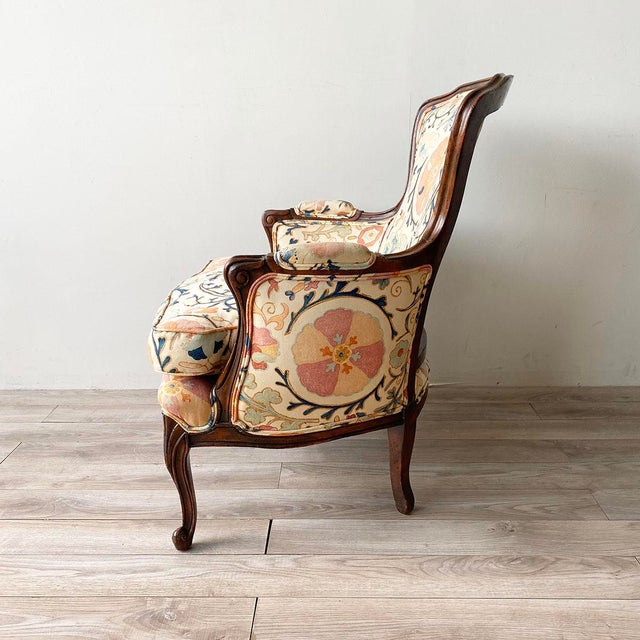 """Brunschwig & Fils Louis XV Style Armchair and Ottoman in Brunschwig & Fils """"Dzhambul"""" Fabric For Sale - Image 4 of 8"""