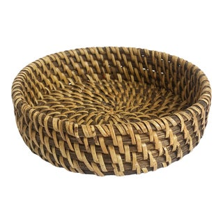 Vintage Round Woven Tray For Sale