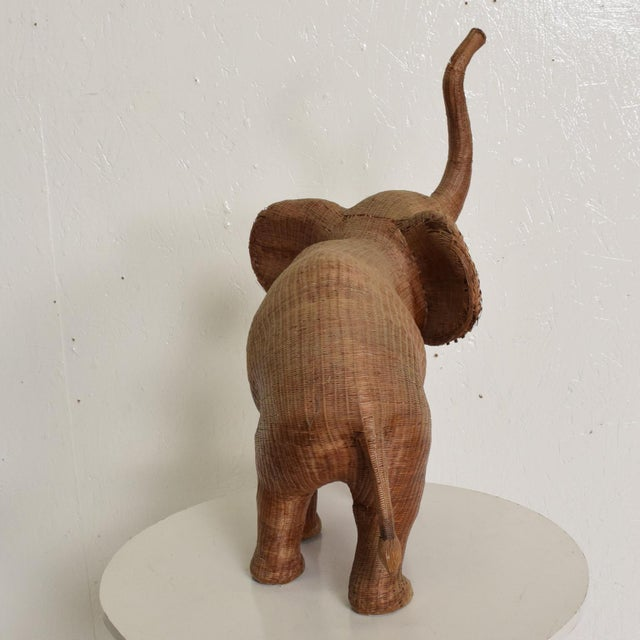 1940s Antique Elephant Wicker Box Hollywood Regency Period For Sale - Image 5 of 11