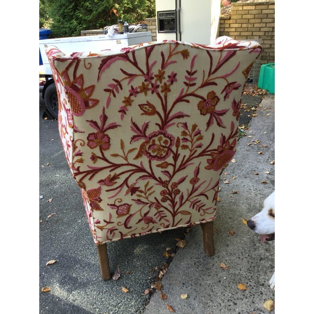 Red Vintage English Armchair W/Crewel For Sale - Image 8 of 10