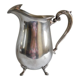 Mid Century Silverplate Footed Water Pitcher For Sale
