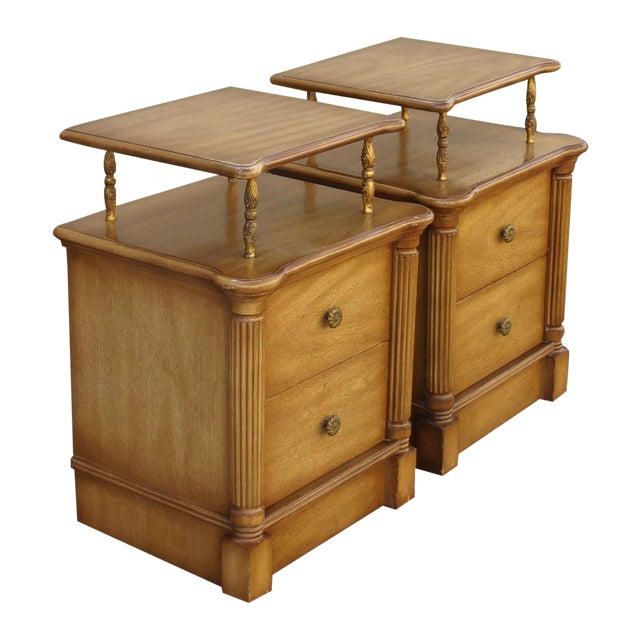 Vintage 2-Drawer Regency Style Nightstands - Pair - Image 1 of 10