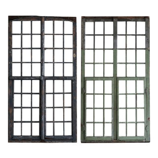 1850s French Painted Wood and Glass Window For Sale