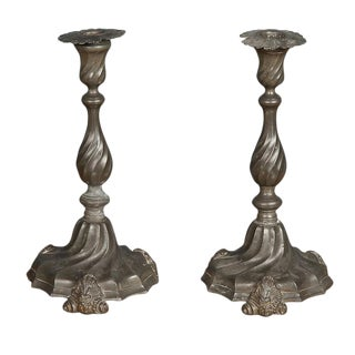 Mid 19th Century Rococo Pewter Candlesticks - a Pair For Sale