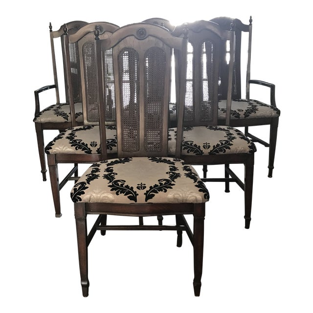 1960s Vintage French Style Victorian Cane Dining Room Chairs Set Of 6 For Sale