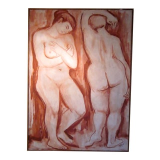 1940s Vintage Life Drawn Figural Nude Painting For Sale