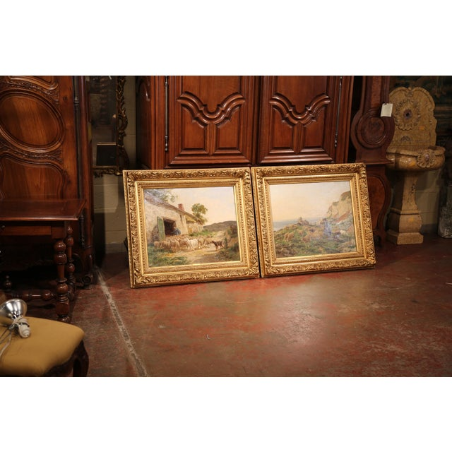 19th Century French Sheep Paintings in Gilt Frames Signed C. Quinton - a Pair For Sale - Image 9 of 11