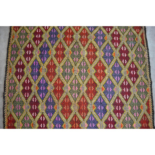 Textile Masterpice Hand Woven Vintage Braided Turkish Rug Wool Kilim Jajim- 5′7″ × 9′2″ For Sale - Image 7 of 11