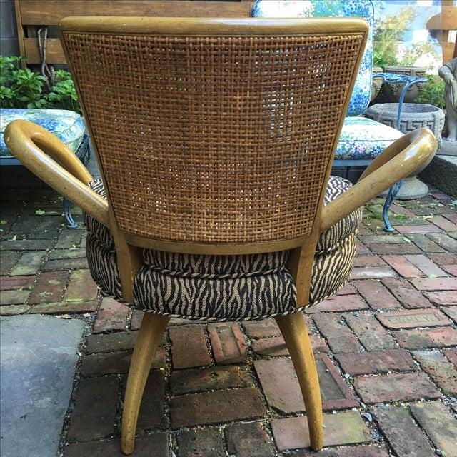 Zebra Upholstered Cane Back Swivel Chair - Image 6 of 7