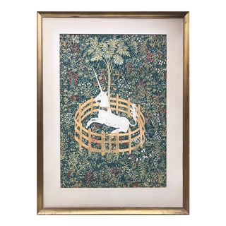 "Vintage ""Unicorn in Captivity"" Serigraph For Sale"