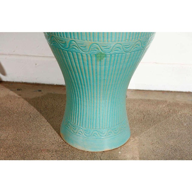 Islamic Mid Century Large Moorish Blue Ceramic Urns With Lid - a Pair For Sale - Image 3 of 10