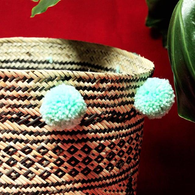 Borneo Drum Tribal Straw Basket with Mint Pom-poms - Image 3 of 5