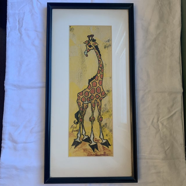 Wood Mid 20th Century Giraffe Painting, Framed For Sale - Image 7 of 7