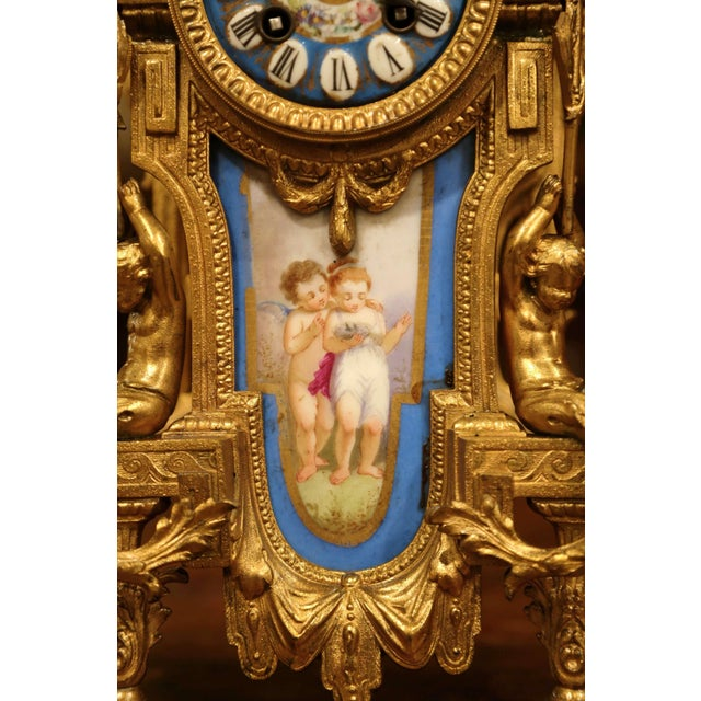 19th Century French Louis XVI Gilt Metal and Porcelain Mantel Clock For Sale - Image 4 of 11