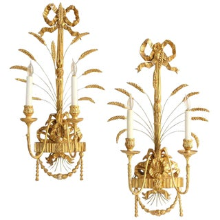 Pair of Regency Style Water Gilt Sconces For Sale