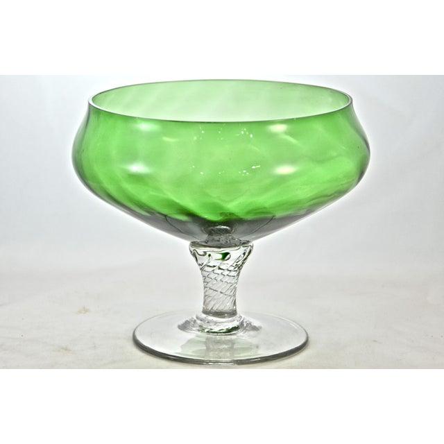 Dark Verdigris Green Ornate Pedestal Light: Green Blown Glass Pedestal Bowl