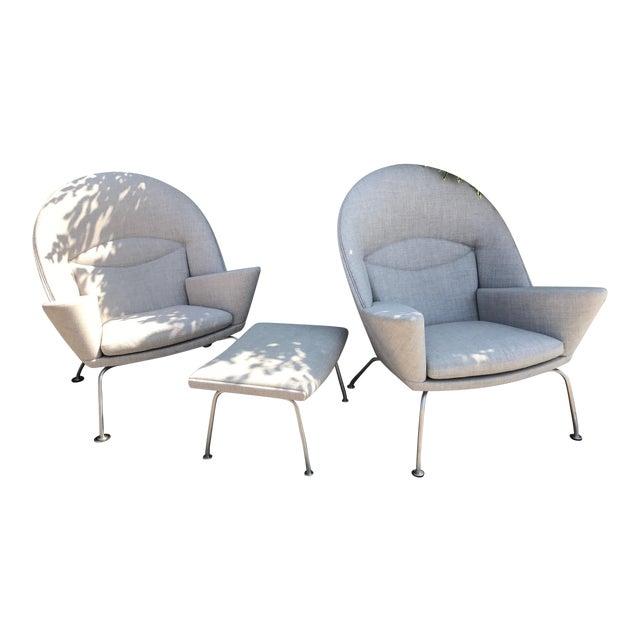 Hans J. Wegner Oculus Chairs & Ottoman - Set of 3 - Image 1 of 6