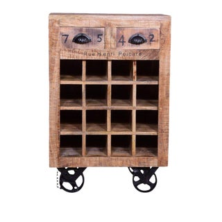 Brin Two Drawer Wine Rack, Wine Bottle Storage, Rustic Wine Rack, Wine Rack Furniture, Wooden Wine Rack-Natural For Sale