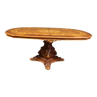Italian Style Carved & Inlaid Dining Table For Sale