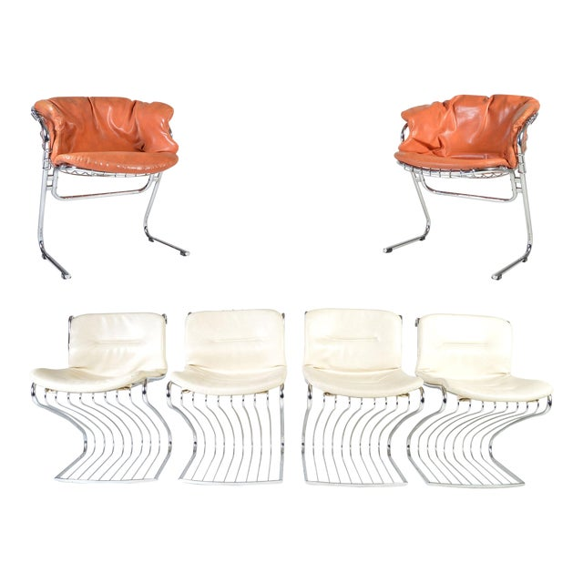Gastone Rinaldi for Rima of Italy Mid Century Chrome Dining Chairs - Set of 6 For Sale