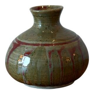 Drip Glaze Striated Studio Pottery Ceramic Vessel
