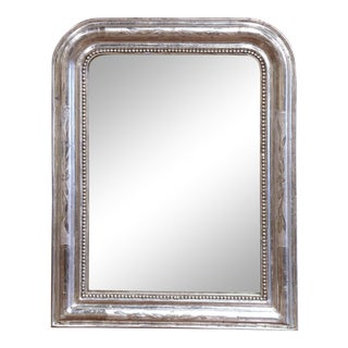19th Century French Louis Philippe Silver Mirror With Engraved Floral Decor For Sale