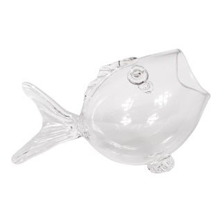 Mid Century Blenko-Style Hand Blown Glass Fish For Sale