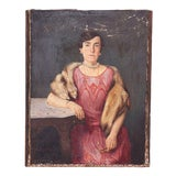 "Image of Early 20th Century ""Portrait of Madeleine de Honghere"" Oil Painting For Sale"