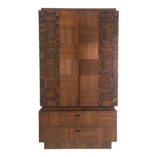 1970s Brutalist Wood Highboy Dresser Armoire For Sale