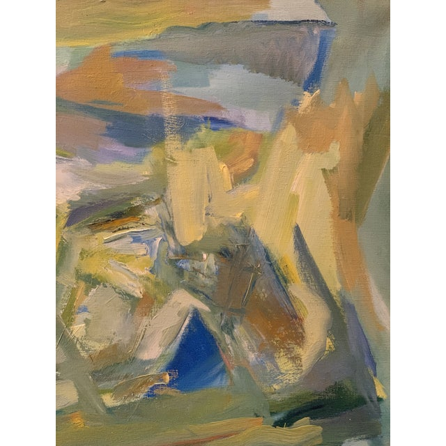 """1960s Mid-Century Modern Abstract Oil Painting on Canvas """"Venice"""" 1964 For Sale - Image 5 of 11"""