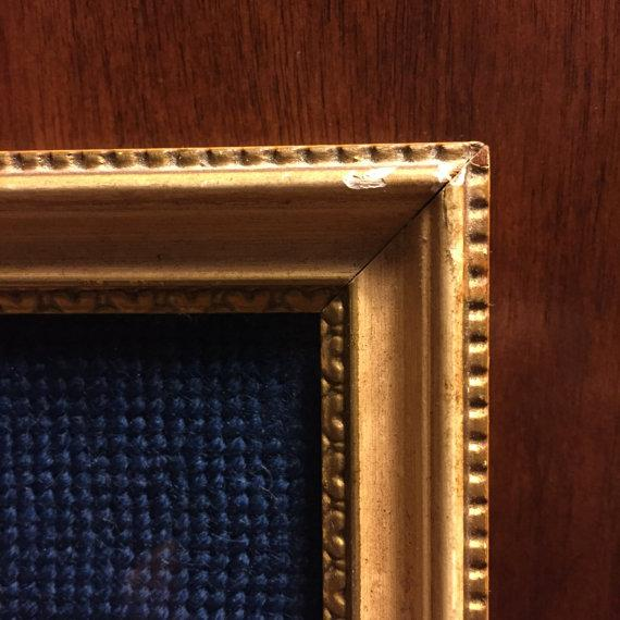 Framed Neoclassical Needlepoint Greek Goddess & Cupid on a Navy Background For Sale - Image 5 of 6