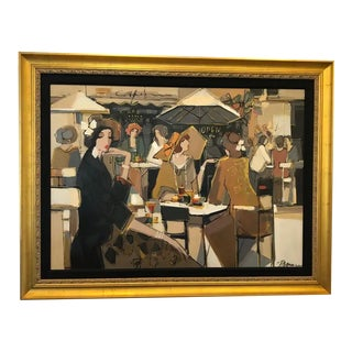 Very Large Original French Cafe Scene Painting by Isaac Maimon For Sale