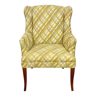 Vintage Mid Century Gray & Yellow Abstract Plaid Petite Wingback Accent Chair For Sale