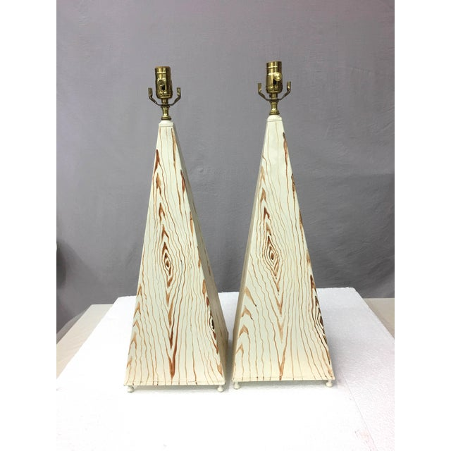 Obelisk Shape Tole Lamps - A Pair For Sale In New York - Image 6 of 7