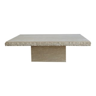 Textured Edge Travertine Coffee Table For Sale