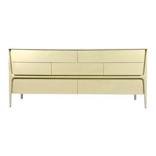 Sculptural 7-Drawer 1960s Cream Midcentury Modern Lacquered Stilted Dresser For Sale