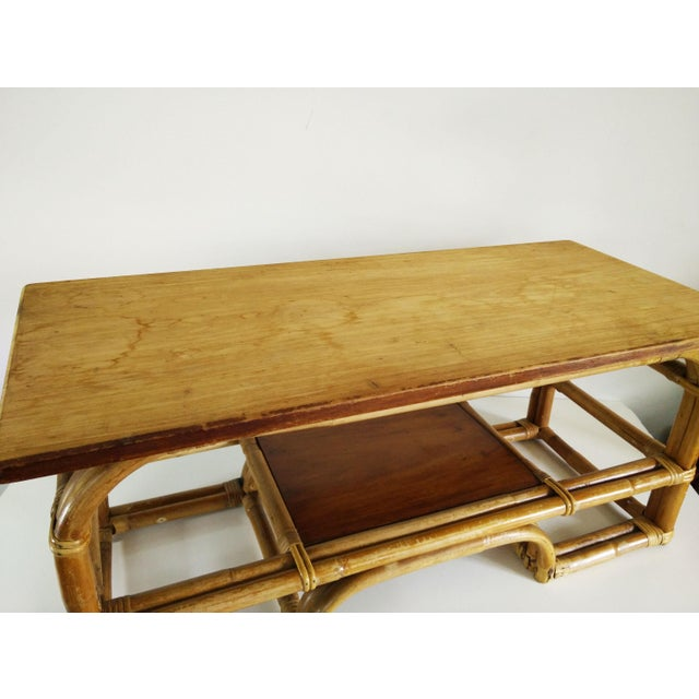 1970s 1970s Boho Chic Bamboo Coffee Table For Sale - Image 5 of 9