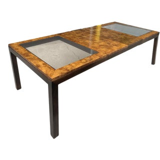 1970s Chinoiserie Burlwood and Glass Parsons Style Dining Table by Century Furniture For Sale