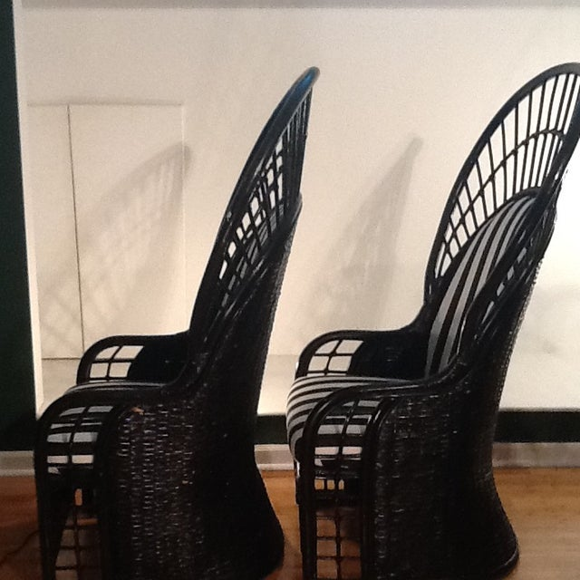 Mid-Century Rattan Wicker Peacock Fan Back Throne Chairs -A Pair For Sale In Raleigh - Image 6 of 13