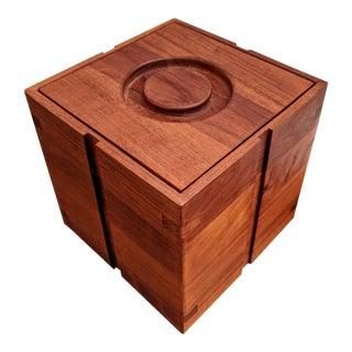 Organic Modern Jens Quistgaard-Style Teak Geometric Ice Bucket Cube For Sale