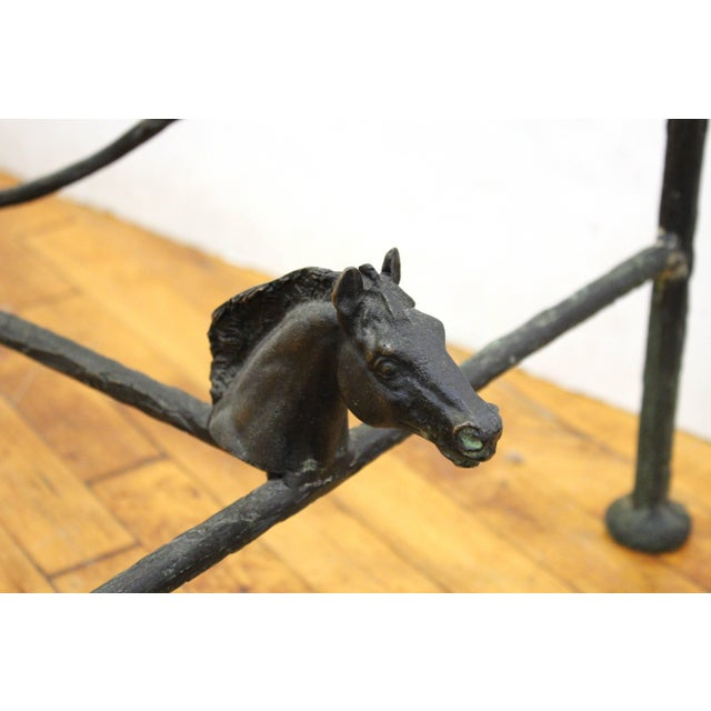 Chodoff Bronze Coffee Table in Giacometti Manner with Horse Heads and Glass Top For Sale - Image 12 of 13