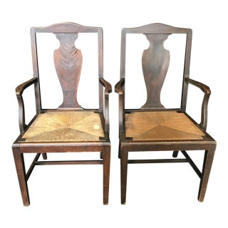 Late 19th Century Period British Chippendale Armchairs With Rush Seats - a Pair For Sale